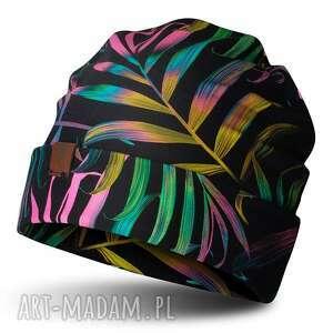 czapka beanie jesienno-zimowa w palmy, bawełna, dzianina, drukowana, męska