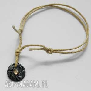 pod choinkę prezent, okrąg bransoletka, srebro, swarovski, sznurek, oksydowane
