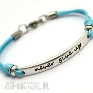 BRANSOLETKA PREEMI MOTTO 1 BABY BLUE, motto, sznurek, cyna, stal
