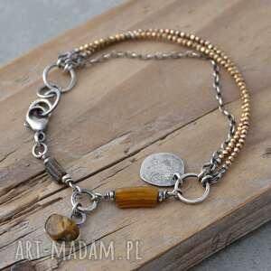 złoty piryt, szkło antyczne i bursztyn srebrna bransoletka, srebro, srebro
