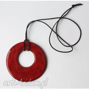 hand-made wisiorki wisior duży czerwony