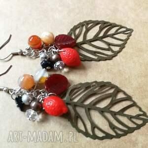 kolczyki liście etno boho, kolczyki, etno, liscie, damskie, kolorowe