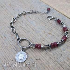 Delikatna z rubinu - bransoletka, rubin, srebro
