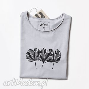 THREE LEAVES szara koszulka nadruk, bluzka, liście, oversize