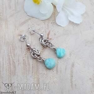 amazonitowe błękity - kolczyki, srebrne wiszące krótkie