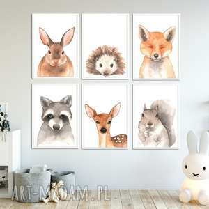 pokoik dziecka galeria 6 obrazków ze zwierzakami a4 las, obrazki, plakaty