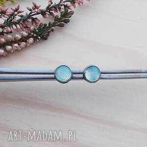 Mini agaty aqua - kolczyki jewelsbykt delikatne kolczyki, srebro