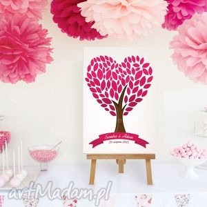 ręczne wykonanie księgi gości plakat wpisów gości weselnych - drzewo serce - 50x70