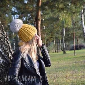 czapka musztarda merynos damska, czapka, wełniana, zimowa, dziergana, ciepła