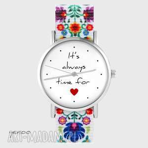 zegarek - time for love folk biały, nato, zegarek, pasek, folkowy, serce