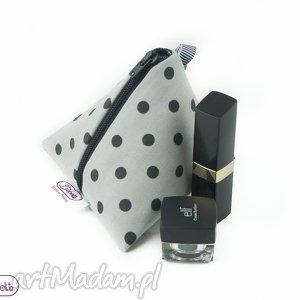 portmonetka tipi szara w groszki, saszetka, kosmetyczka, klucznik, portfel, prezent