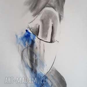 kobaltowy, niebieski obraz, niebieska grafika, grafika do salonu, obraz kobieta