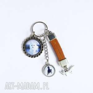 breloczek - biały lis, koń, rzemień, breloczek, do kluczy, polarny