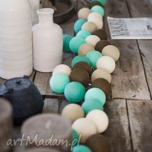 lampki cotton ball lights peppermint, lampki, kule, święta, prezent, choinka