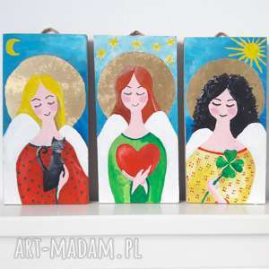 3 aniołki na przyjaźń, miłość, szczęście, anioł, aniołek, tryptyk, dzieci