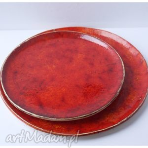 hand-made ceramika zestaw 2 talerzy ceramicznych