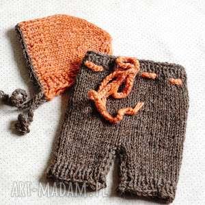 szorty i czapeczka dla noworodka, noworodek, szorty, czapeczka, fotografia