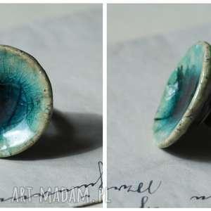 pierścionki oczko lazurowo-kwiatowe, ceramika, pierścionek biżuteria