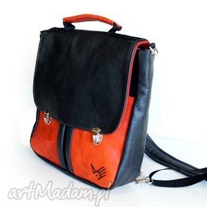PLECAK / TORBA czarno czerwona, retro, czerwień, kieszenie, teczka, plecak, oldschool