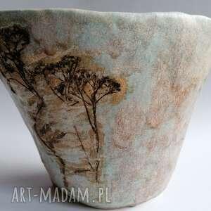 ceramika wazon z motywem roślinnym, ceramika, turkusowym wazon