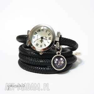 Zegarek, bransoletka - serce steampunk owijany, czarny zegarki