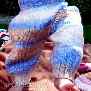 spodenki cieplutkie 6 - 12 msc, spodnie, wełna, dziecko, niemowlę, druty