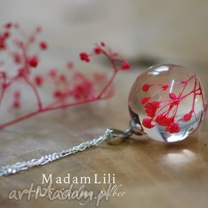 Prezent 925 srebrny łańcuszek z prawdziwymi kwiatami, biżuteria, berlin, naszyjnik