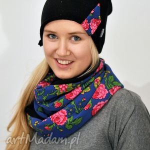 ciepła czapka dresowa z kolorowym paskiem folk - idealna - czapka, dresowa, folk