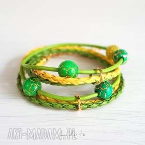 bransoletka - zielona, żółta złota, owijana, bransoletka, skórzana