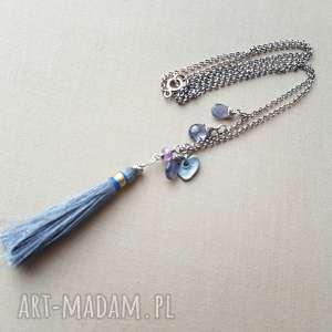 Naszyjnik ze srebra i iolitu, srebro, kobiecy, oksydowany, delikatny