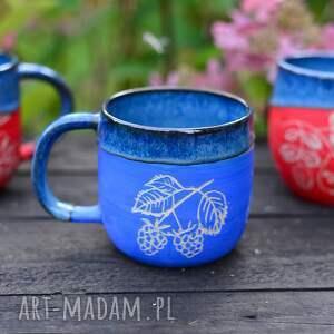ręcznie wykonane ceramika kubek handmade duży kamionkowy - jeżyna blue -370