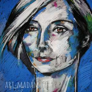 Ditta - rysunek pastelami suchymi i akrylami, rysunek, portret, unikat, radzka