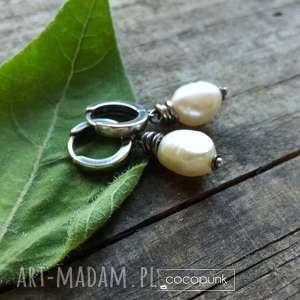 delikatne kolczyki z perłami - srebro 925, delikatne, proste, minimalistyczne