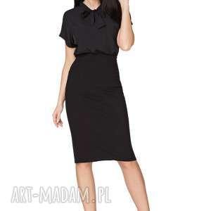 Bluzka z kokardą szyfonu T223, czarna, bluzka, elegancka, szyfon, wiązana, kokarda