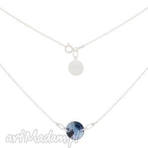 srebrny naszyjnik z jasnogranatowym kryształem swarovski® - łańcuszkowy