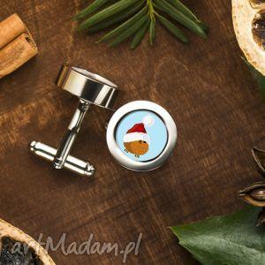 eleganckie spinki do mankietów Świateczny ptaszek - ptak, zima, prezent