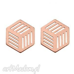 kolczyki sześciany z różowego złota sotho - pozłacane