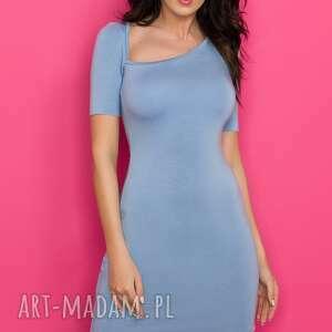sukienka z asymetrycznym dekoltem t138 niebieski - sukienka, ołówkowa, dopasowana