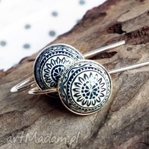 kolczyki ze srebra z mozaikowym oczkiem, krótki, mozaika, srebro, 925