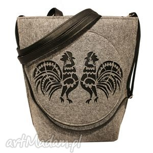 czechdraft shopper bag folk koguty, shopper, filc, folk, kogut, oryginalny prezent