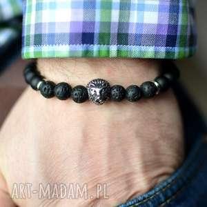 beezoo bransoletka męska hombree stone steel lion black, bransoletka, męska, lew