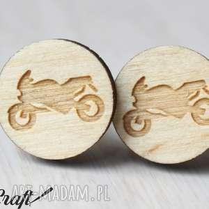 Spinki do mankietów MOTOCYKL, spinki, drewniane, motor, motocykl, lekkie,