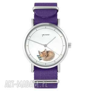 ręcznie wykonane zegarki zegarek - lisek fioletowy, nylonowy