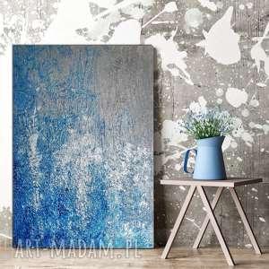 - zamarznięty wodospad, do salonu, malowany akrylami, obraz abstrakcyjny