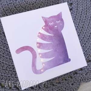 świecący obraz led kot prezent dla dziewczynki lmapka nocna akwarela personalizowany