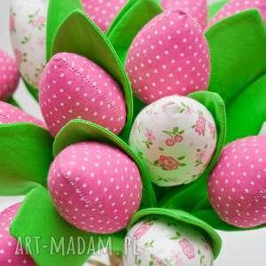 tulipany z materiału bukiet tulipanów różowe 9 sztuk, tulipany