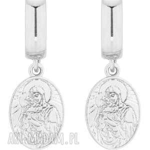 srebrne kolczyki z medalikami - wiszące, zapinane stylowe, modne