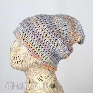pastelowa czapka kolorowa z włóczki beanie 025, czapka, włóczki, ciepła