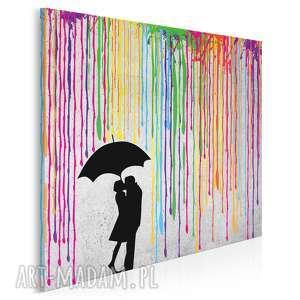 obraz na płótnie - deszcz kolory para w kwadracie 80x80 cm 46404, deszcz