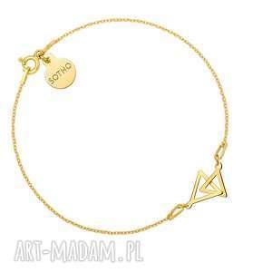 Złota bransoletka z dwoma trójkątami, bransoletka, zawieszka, dwatrójkąty, trójkąt